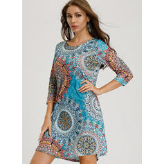 Print 3/4 Sleeves Shift Above Knee Casual/Elegant/Boho/Vacation Tunic Dresses