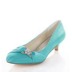 Women's Silk Like Satin Kitten Heel Pumps With Crystal