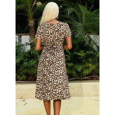 Leopardo Manga Corta Cubierta Casual Midi Vestidos