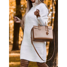 Solid/Beaded Long Sleeves Bodycon Above Knee Casual Sweater Dresses