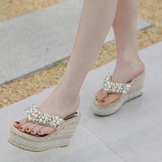 De mujer PU Tipo de tacón Sandalias Cuñas Encaje con Perlas de imitación zapatos