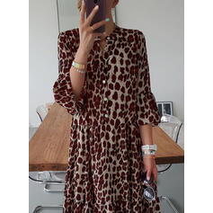 Leopard 3/4 Sleeves Shift Tunic Casual Midi Dresses