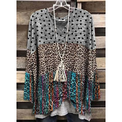 PolkaDot Leopard V-Neck Long Sleeves Casual T-shirts