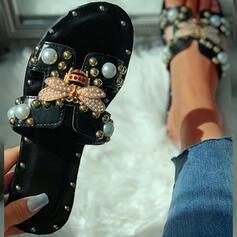 Dla kobiet PU Płaski Obcas Sandały Japonki Kapcie Z Stras/ Krysztal Górski Nit obuwie