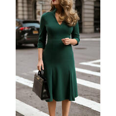 Solid 3/4 Sleeves A-line Knee Length Elegant Skater Dresses