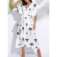 Print 1/2 Sleeves/Batwing Sleeves A-line Wrap Casual/Vacation Maxi Dresses