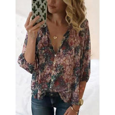 Floral V Neck 3/4 Sleeves Button Up Casual Elegant Blouses