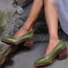 Mulheres Couro Salto robusto Bombas sapatos