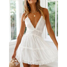 Solid Sleeveless A-line Above Knee Sexy/Casual/Vacation Slip/Skater Dresses