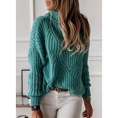 Solid Animal Print Turtleneck Sweaters