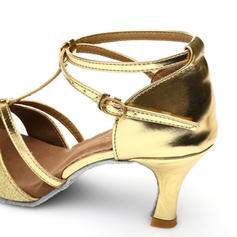 Women's Latin Heels Sandals Leatherette Sparkling Glitter With T-Strap Ankle Strap Latin