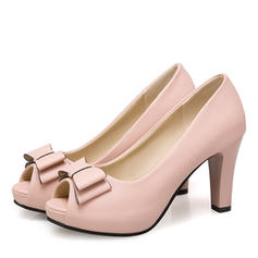 Women's Leatherette Chunky Heel Platform With Bowknot shoes
