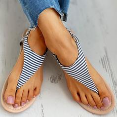 Frauen PU Flascher Absatz Sandalen Flip Flops mit Schnalle Schuhe