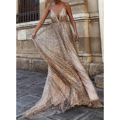 Sequins/Solid Sleeveless A-line Maxi Sexy/Party Dresses