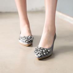 Femmes Satiné Talon plat Chaussures plates Bout fermé avec Strass Une fleur chaussures