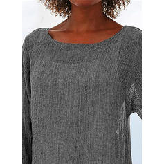 Solide Ronde Hals Lange Mouwen Casual Blouses