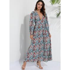 Print Long Sleeves A-line Skater Boho/Vacation Maxi Dresses