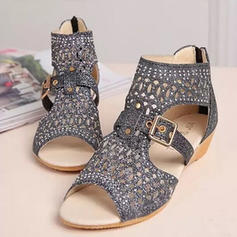 Women's Sparkling Glitter Flat Heel Sandals With Buckle shoes