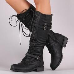 Mulheres PU Salto robusto Botas Botas na panturrilha com Fivela Zíper Aplicação de renda Cor sólida sapatos