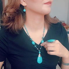 Beautiful Fashionable Exotic Alloy Turquoise Women's Jewelry Sets (Set of 2)