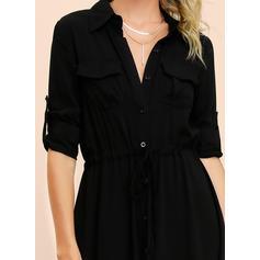 Couleur Unie Manches Longues Trapèze Petites Robes Noires/Décontractée Midi Robes