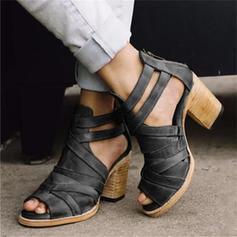 ПУ Квадратні підбори Сандалі Насоси взуття на короткій шпильці з Пряжка взуття