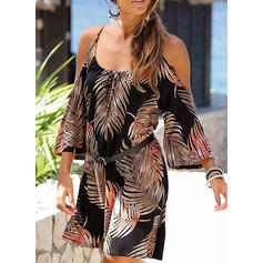 Print 3/4 Sleeves/Cold Shoulder Sleeve Sheath Above Knee Casual/Vacation Dresses