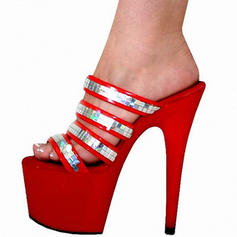 Donna PVC Tacco a spillo Sandalo Stiletto Piattaforma Punta aperta Con cinturino con Rivet scarpe