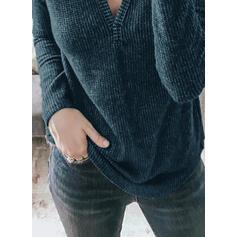 Einfarbig V-Ausschnitt Lange Ärmel Freizeit Basic Stricken Blusen