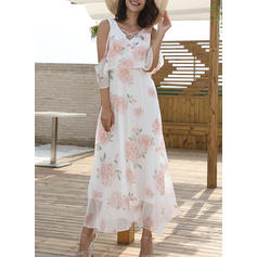 Print Floral V-neck Midi Shift Dress