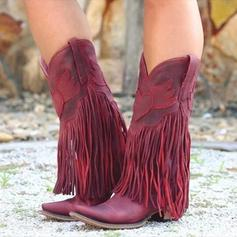 Women's PU Chunky Heel Pumps Boots With Tassel shoes