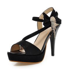 De mujer Cuero Tacón stilettos Sandalias Salón Plataforma Encaje Solo correa con Bowknot Borla zapatos