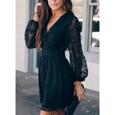 Lace/Solid Long Sleeves A-line Above Knee Casual/Elegant Skater Dresses