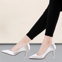 Women's Satin Stiletto Heel Pumps Closed Toe shoes