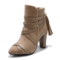 Women's Suede Leatherette Stiletto Heel Pumps Boots With Lace-up shoes