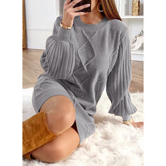 Einfarbig Rundhalsausschnitt Freizeit Lang Pulloverkleid