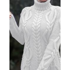 Solido Cavo Knit Maglia grossa Dolcevita Casual Lungo Abito maglione