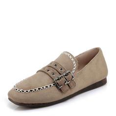 Frauen Veloursleder Flascher Absatz Flache Schuhe mit Schnalle Schuhe