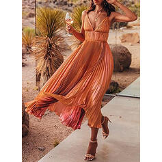 Solid Sleeveless A-line Casual/Party/Vacation Maxi Dresses