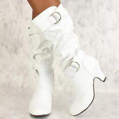 Vrouwen PU Spool Hak Pumps Laarzen met Gesp schoenen