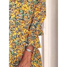 Impresión/Floral Manga Larga Tendencia Sobre la Rodilla Casual/Elegante Vestidos