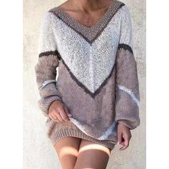 Color Block Cable-knit Chunky knit V neck Sweater Dress