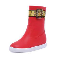 Femmes Similicuir Talon bas Bout fermé Bottes Bottes mi-mollets Bottes neige avec Boucle chaussures