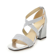 Femmes Pailletes scintillantes Talon bottier Sandales Escarpins À bout ouvert avec Boucle chaussures