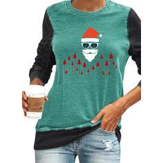 Color Block Animal Print Round Neck Long Sleeves Christmas Sweatshirt