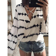 Print V Neck Long Sleeves Casual Sexy Blouses
