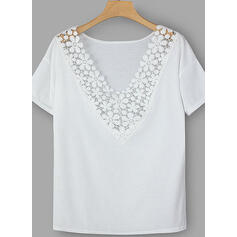 Solid Lace V-Neck Short Sleeves Casual Elegant Blouses