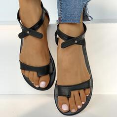 Vrouwen PU Flat Heel Sandalen Teen Ring met Hol-out Kriskras schoenen