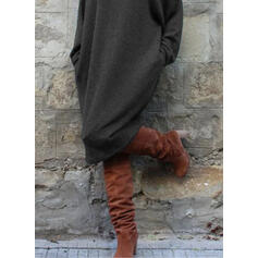 Pevný Dlouhé rukávy Splývavé Svetr Neformální Midi Šaty