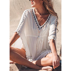 Solid Color V-neck Beautiful Bohemian Cover-ups Swimsuits